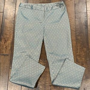 Worthington Gold and Teal Patterned Pants   Size 4